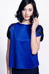 Royal Blue Leather Detail Top