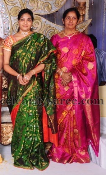 Dark Green Pink Uppada Silk Sari