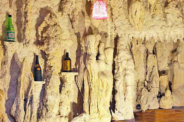 stalactites,stalagmites, cave, awamori,bottles,bar