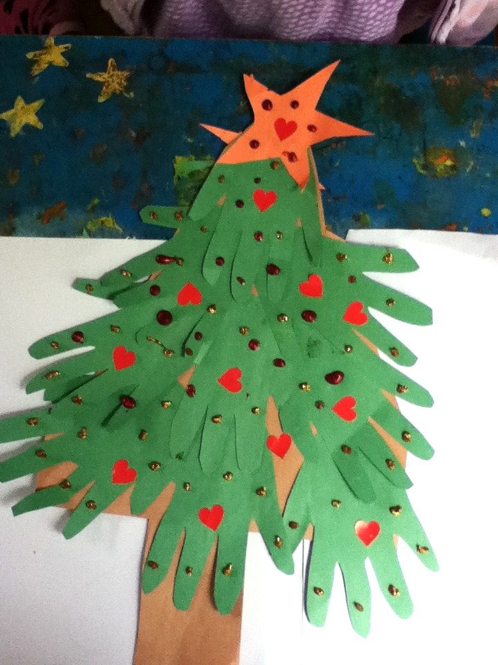 Preschool crafts for kids handprint christmas tree craft for Christmas crafts for pre schoolers