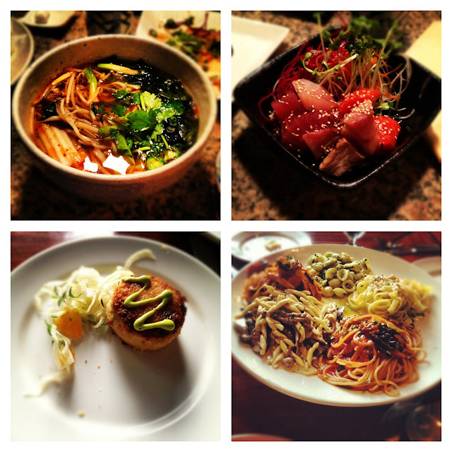 Whistler eats, dinner at Sushi Village and Quattro, Quattro pasta, Crab cake, udon noodles, mixed sashimi poke, delishious, food, yummy