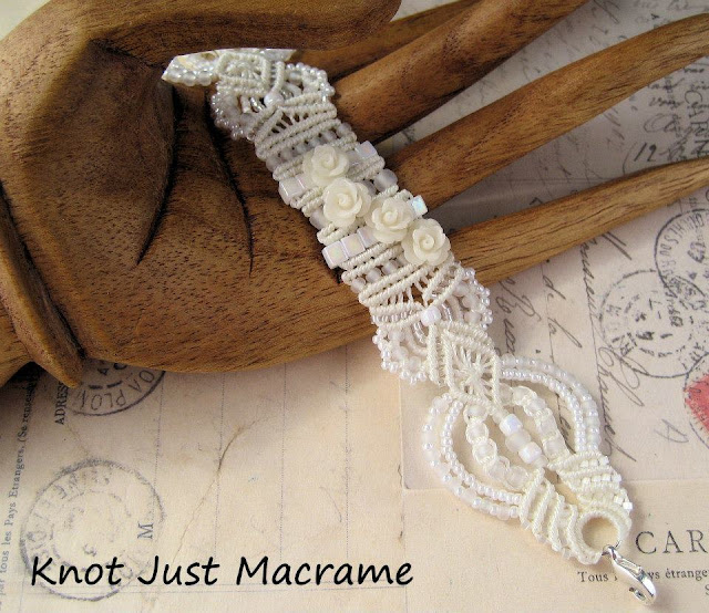White bridal micro macrame beaded bracelet by Knot Just Macrame