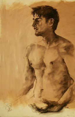 life drawing by Shannon Reynolds charcoal on gessoed paper