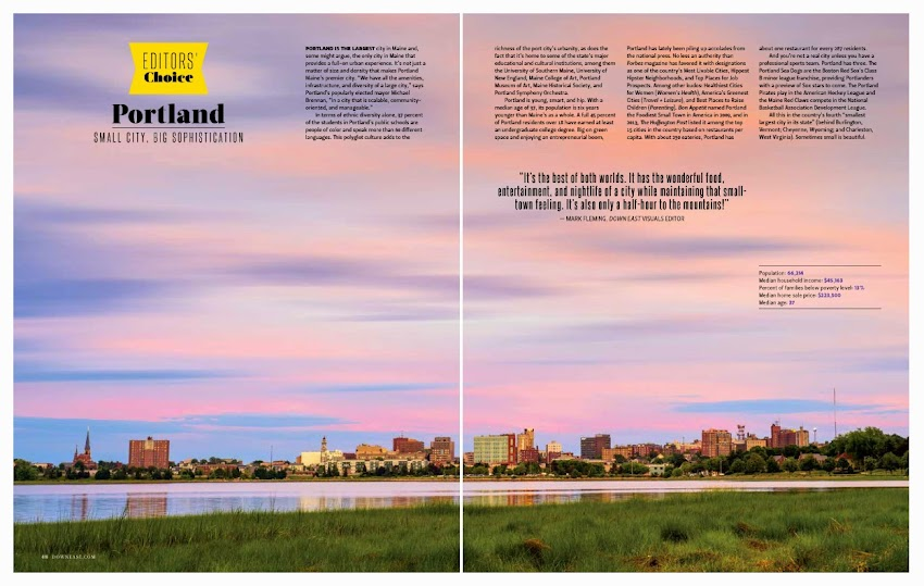 Portland, Maine March 2015 issue of Down East Magazine skyline photo by Corey Templeton