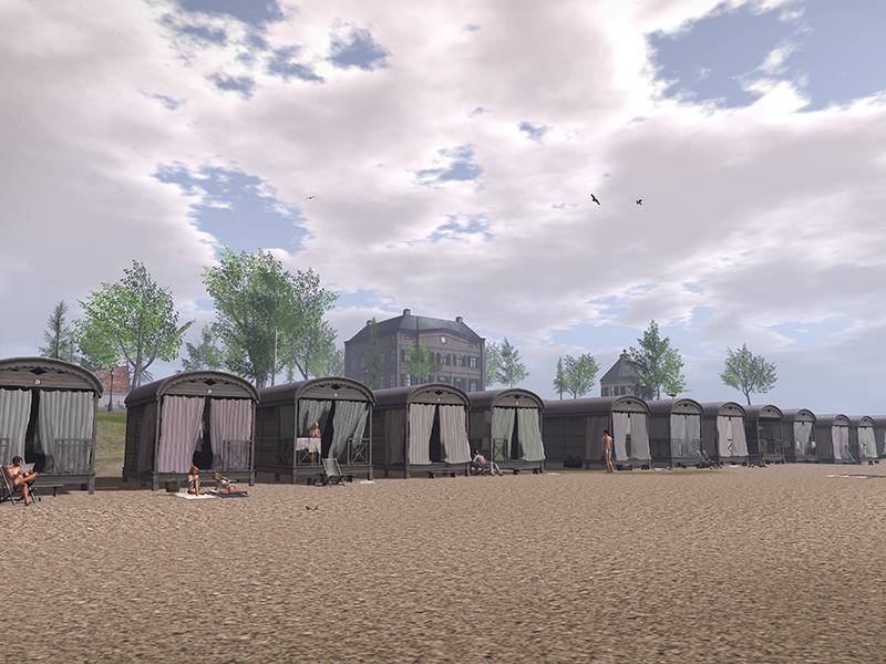 A long row of beach cottages on a dutch beach in Second Life