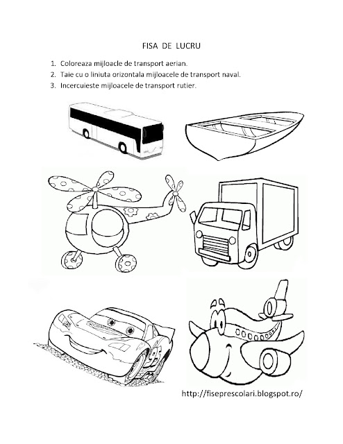 FISE De Lucru Cu Mijloace De Transport Pentru Copiii De Gradinita