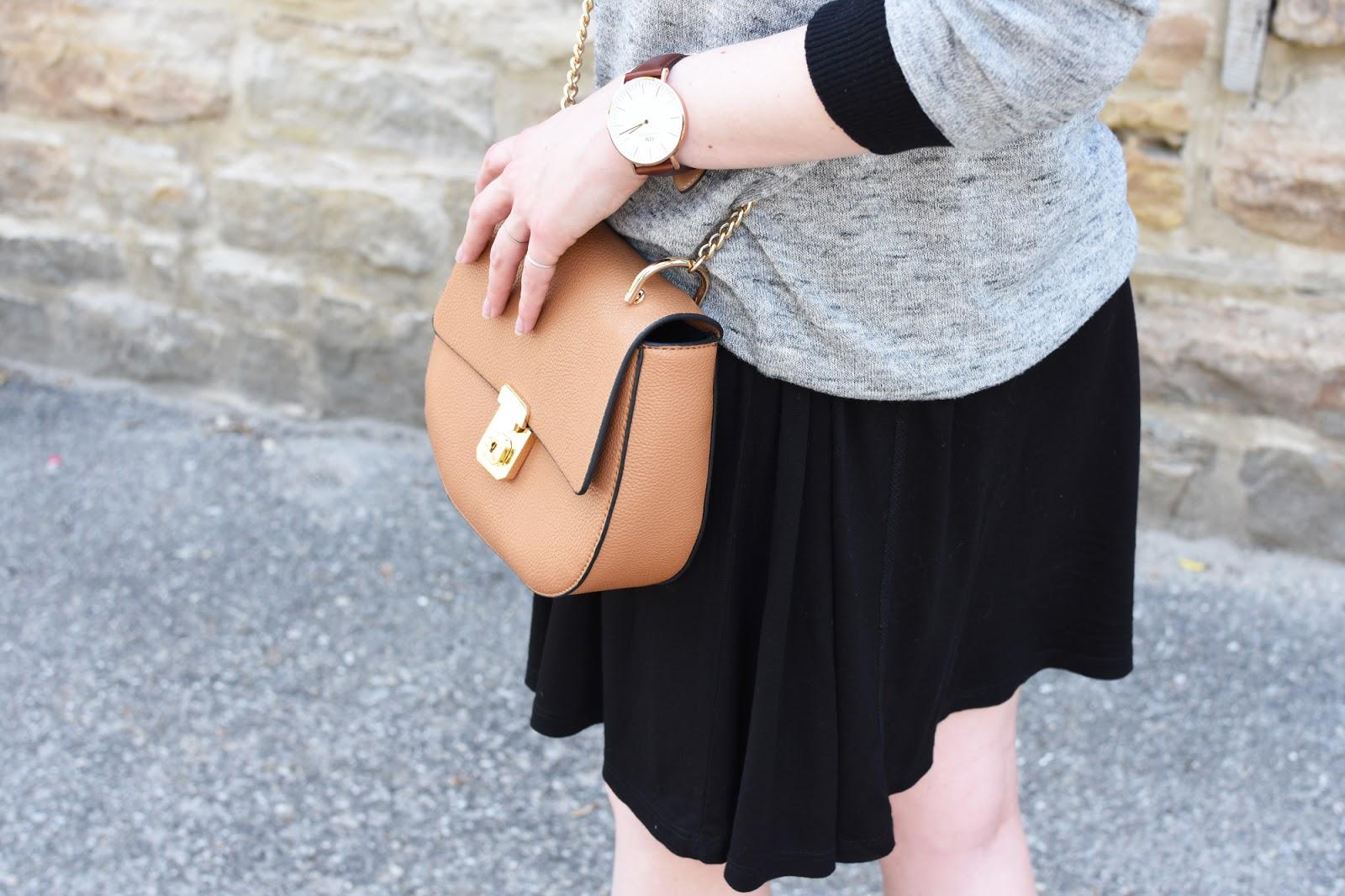 OOTD ft. Zara dress under an Aritzia sweater, Zara heels, Forever 21 bag, and Warby Parker aviators