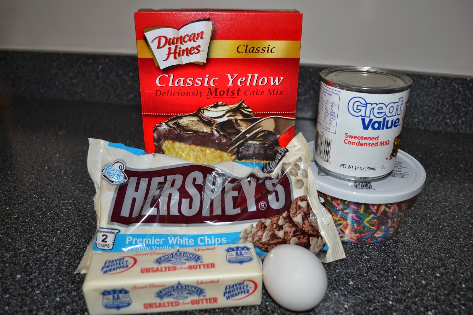 Funfetti Gooey Cake Bites- Ingredients