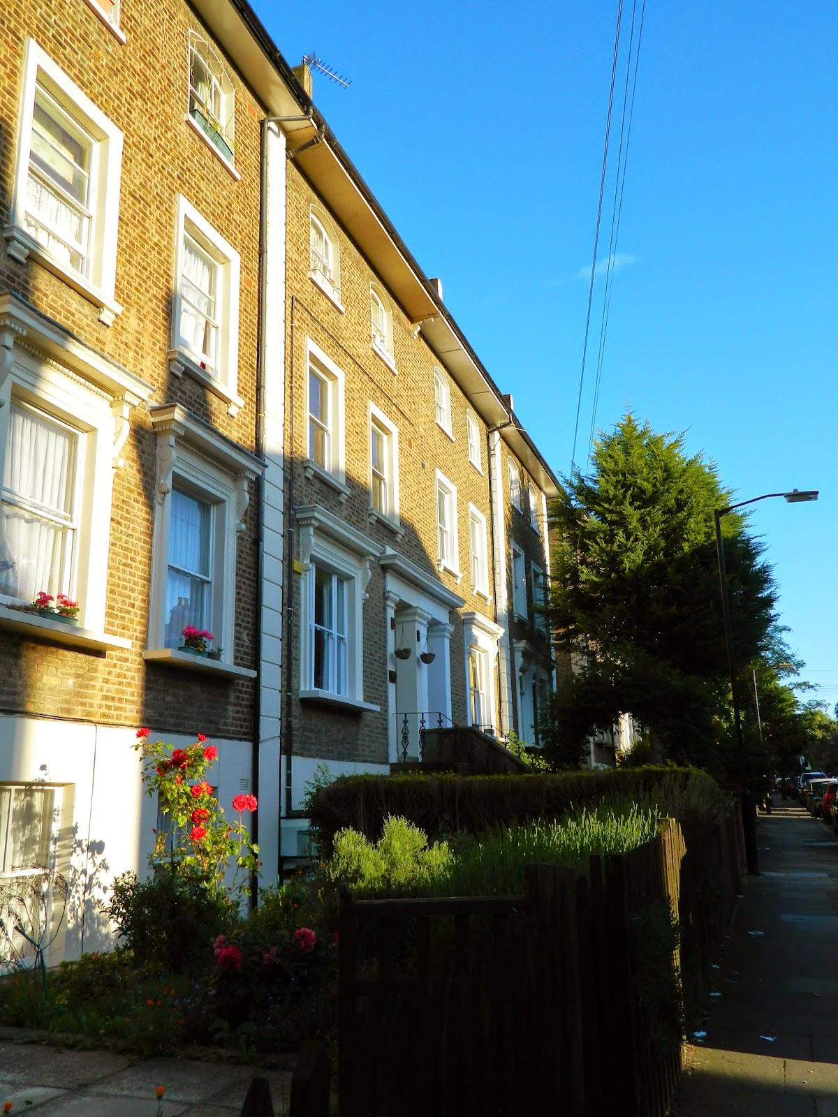 london house architecture street sky sun light cute