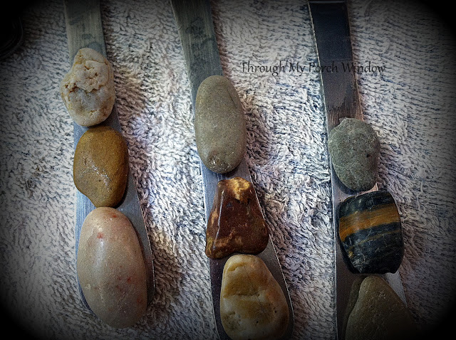 From boring to amazing flatware, a creative take with rocks and raffia by Through My Porch Window, featured on I Love That Junk