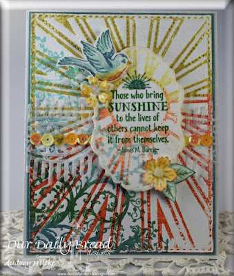 Our Daily Bread Designs Stamp sets: Sunshine Blessings, Spread your Wings, Belles Vignes, ODBD Custom Dies: Sunburst Backbround, Birds and Nest, Vintage Labels, Beautiful Borders