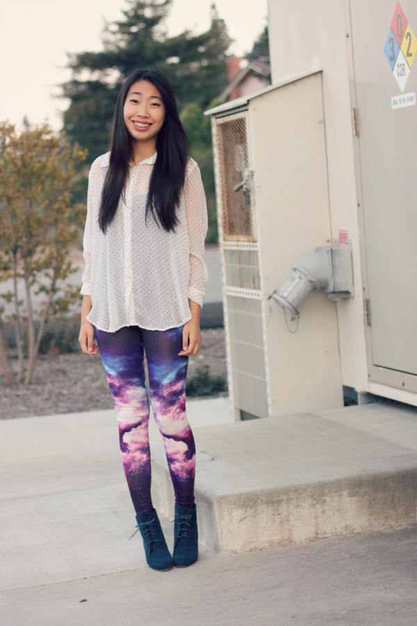 outfit with galaxy leggings
