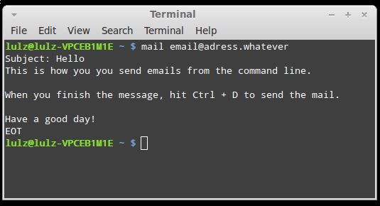 How to send emails from the terminal