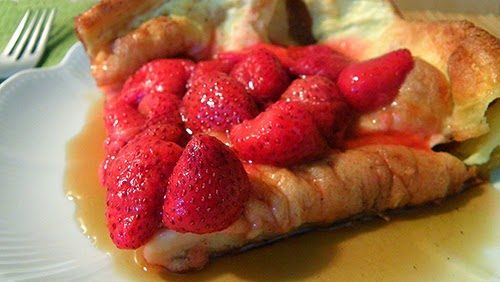 Closeup of Popover Pancake with Strawberries