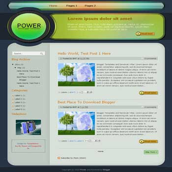 Power Blogger Template. blogger template from css template. template business for blog. css template for blog. image slideshow for blogger