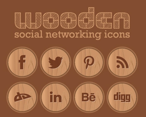 Wooden Free Social Networking Icons