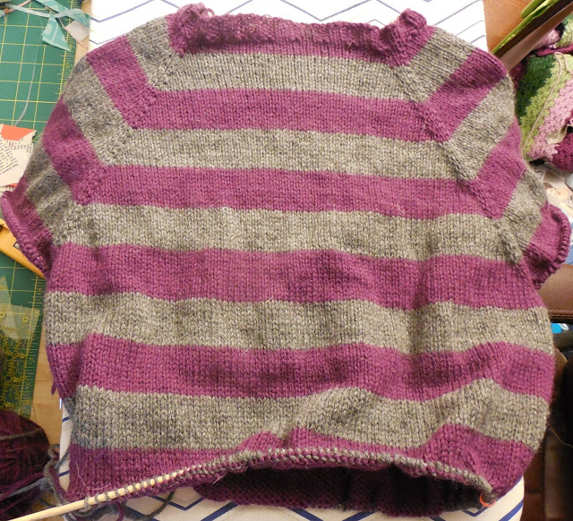 raglan knit sweater progress