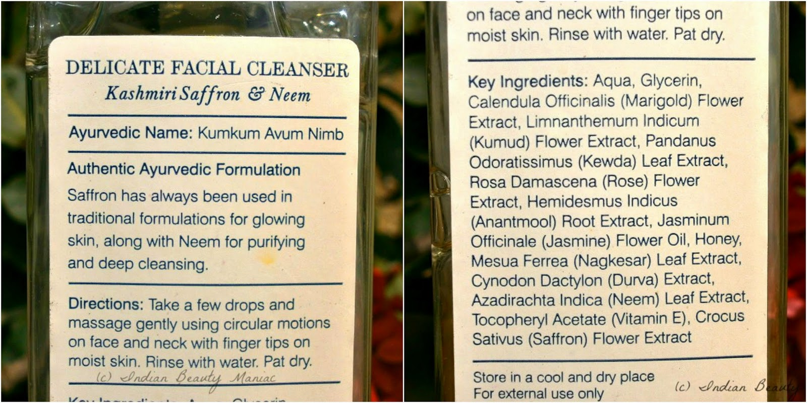 Forest Essentials Delicate Facial Cleanser Kashmiri Saffron & Neem, review, chemical free face wash, gentle cleanser for dry skin, Paraben free cleanser, Ayurvedic cleanser, Saffron for skin care, Neem for skin care, Traditional Indian skincare