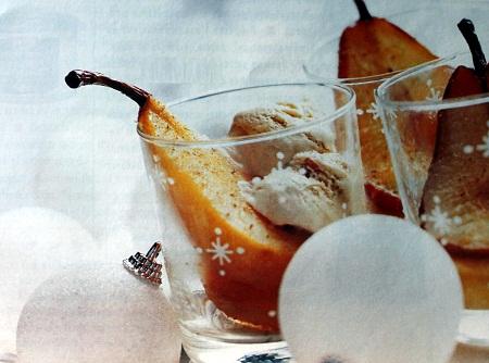 Peras caramelizadas con helado de casta as for Postres franceses frios
