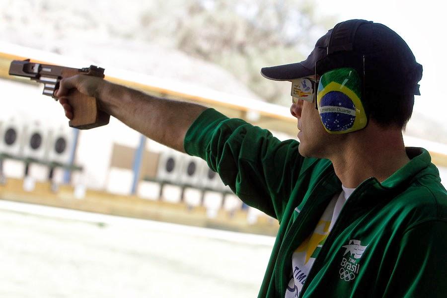 Emerson Duarte, ouro na Pistola Tiro Rápido nos Jogos Sul-Americanos de Santiago - Foto: IND/ AGENCIAUNO/ RODRIGO SÁENZ