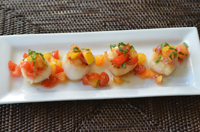 Seared Scallops with Summer Salsa serves 4 as an hors d'oeuvre