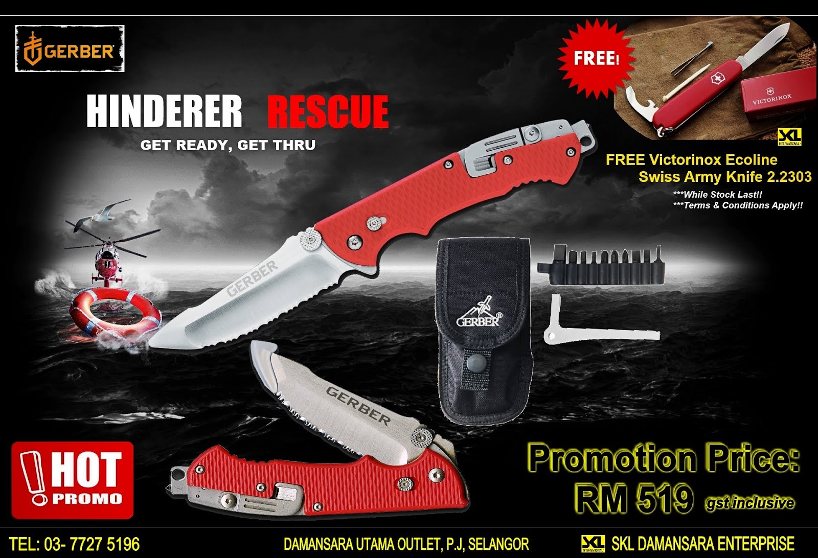 Gerber Hinderer Rescue knife set Free Victorinox Swiss Army Knife worth RM 76