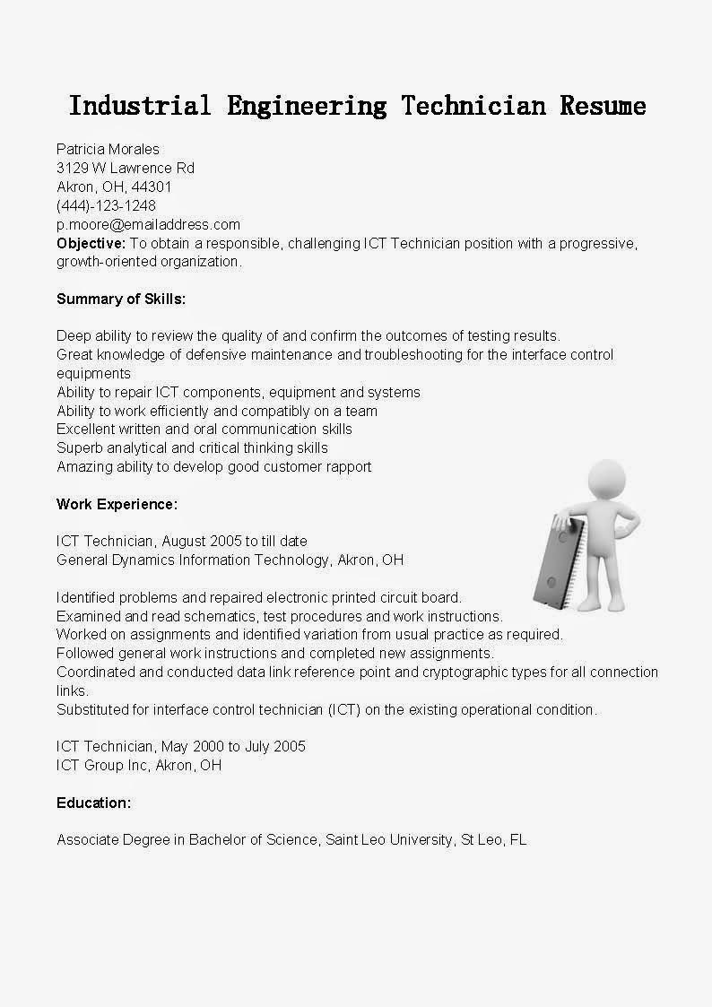 resume samples  industrial engineering technician resume sample