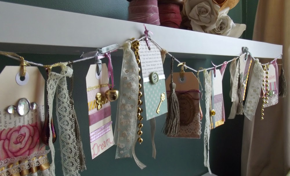 ribbon lace tags roses bunting charms