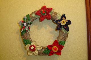 Guirlanda de patchwork com flores