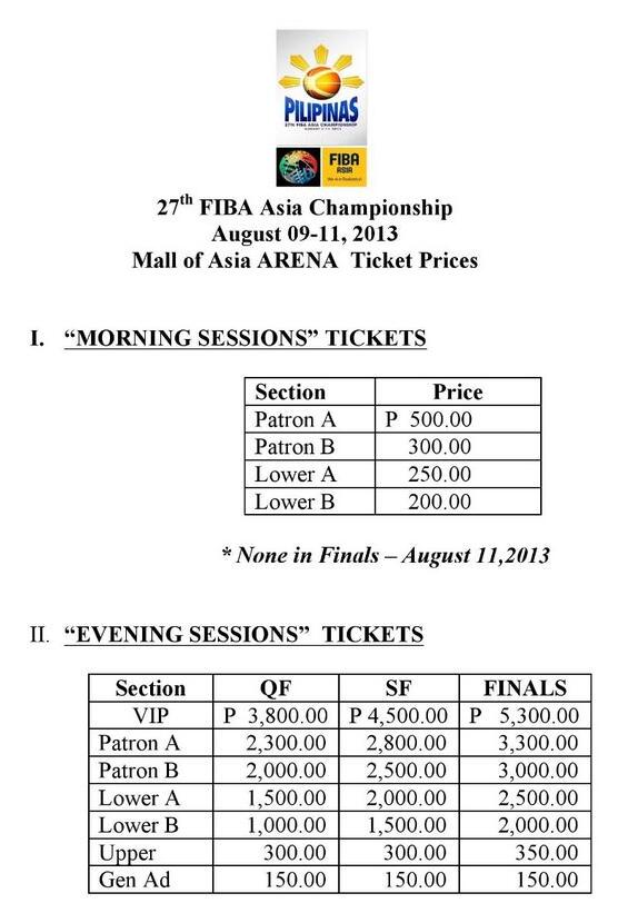 FIBA ASIA MOA Arena Ticket Prizes