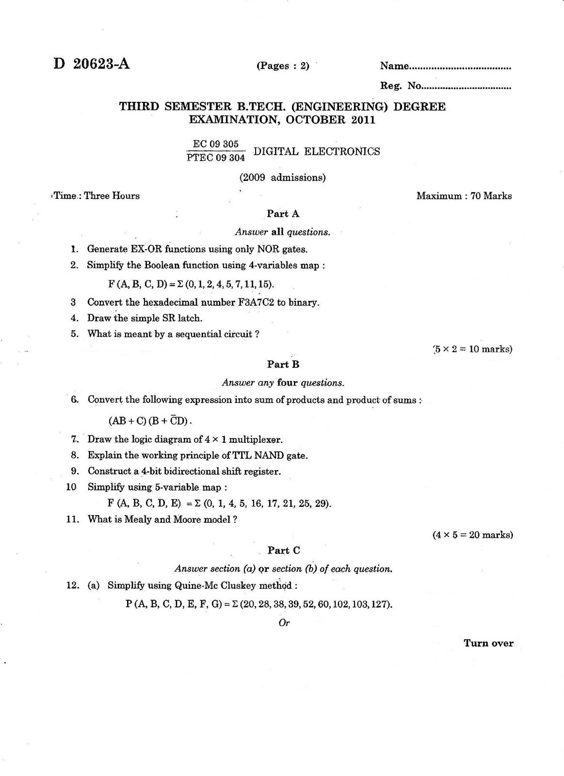Btech Question Papers Calicut University Electronic Circuit Design Objective Questions Ec 09 303 Digital Electronics