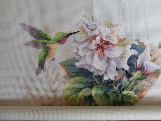 Hummingbird of Hibiscus Duo Cross Stitch WIP