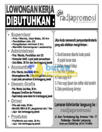 Bursa Kerja Lampung RADJAPROMOSI