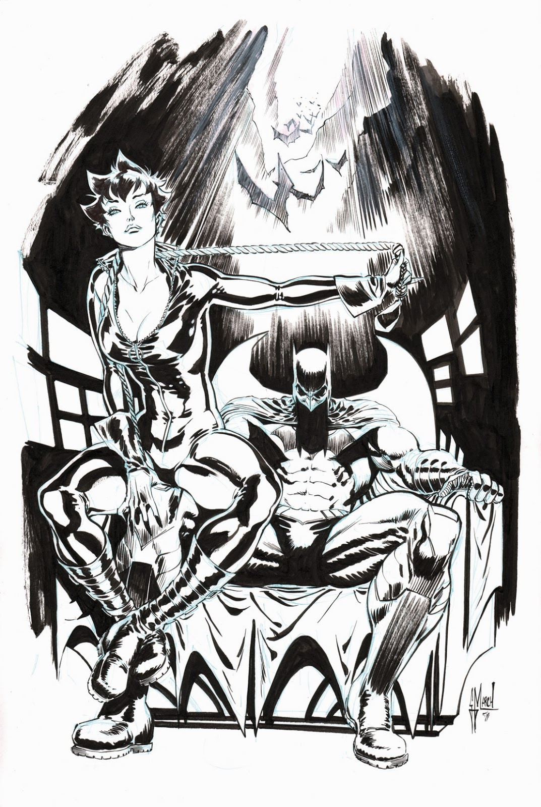BATMAN + CATWOMAN commission by Guillem March