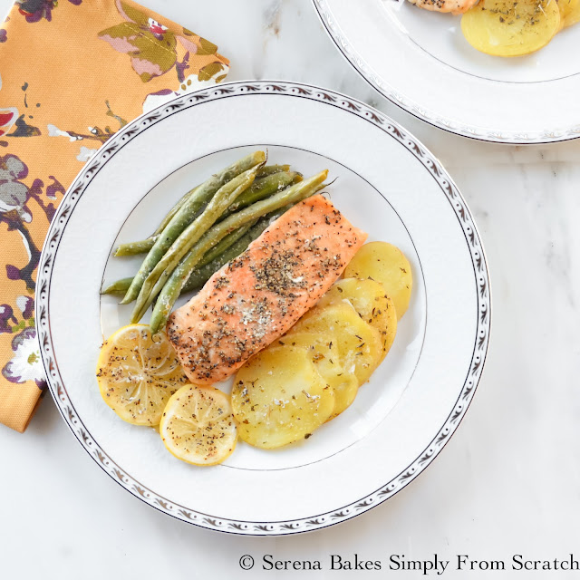 Easy Salmon Potatoes and Green Beans In Parchment is a quick easy dinner in under 30 minutes! serenabakessimplyfromscratch.com