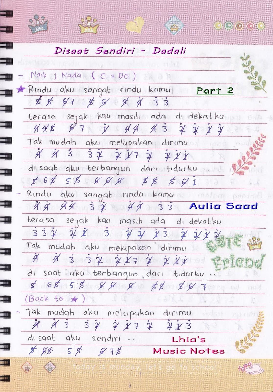 Not Angka Dadali ? Disaat Sendiri Lhia S Music Notes