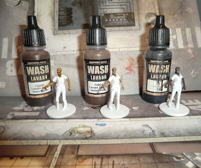 Painting ethinic skin black negro mexican zombies wash miniatures