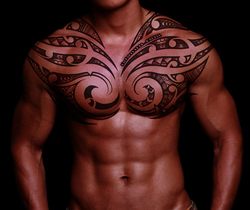 tribal tattoos polynesian chest home tattoos chest tattoo tattoos curvy tribal shoulder and chest on