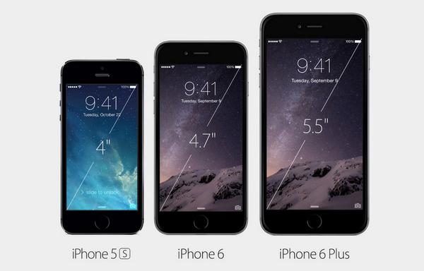الفرق في الحجوم بين أجهزة الآيفون 5S وآيفون 6 وآيفون 6 بلس