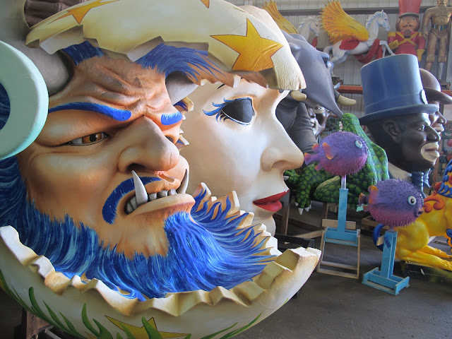 Some of the float decorations at Mardi Gras World in New Orleans