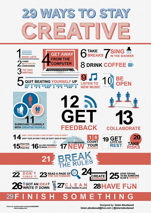 Infografía - 29 consejos para mantenerse creativo