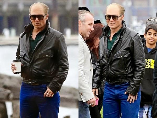 Johnny Depp no set de filmagem de Black Mass