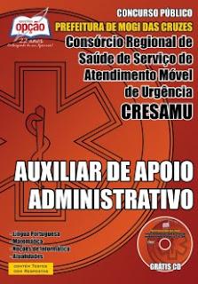 Apostila Concurso CRESAMU Mogi das Cruzes - Auxiliar de Apoio Administrativo.
