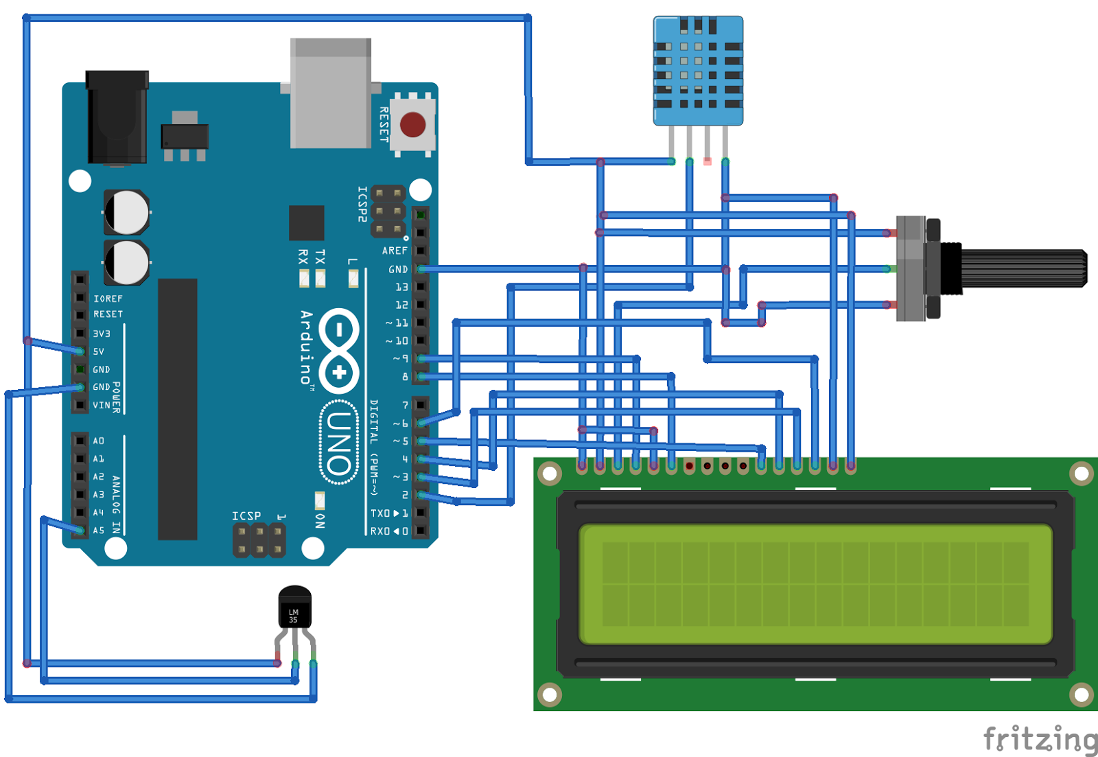 Portable Arduino Temp Humidity Sensor With Lcd A750f4 likewise Termometro   Arduino E Sensor Lm35 additionally 16x2 Lcd Module Control Using Python in addition 85LvW1QDLLw moreover Tutorial Mostrar A Temperatura Ambiente   O Arduino Em Um. on 16x2 lcd screen