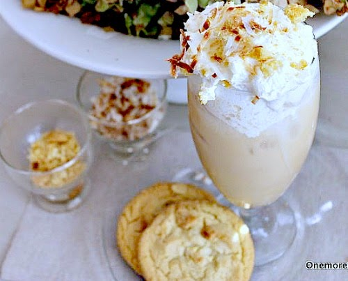 Macadamia Nut Ice Coffee with toasted coconut and cookie crumbles at One More Time Events.com