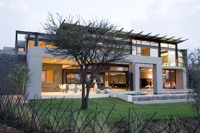Modern home from the backyard