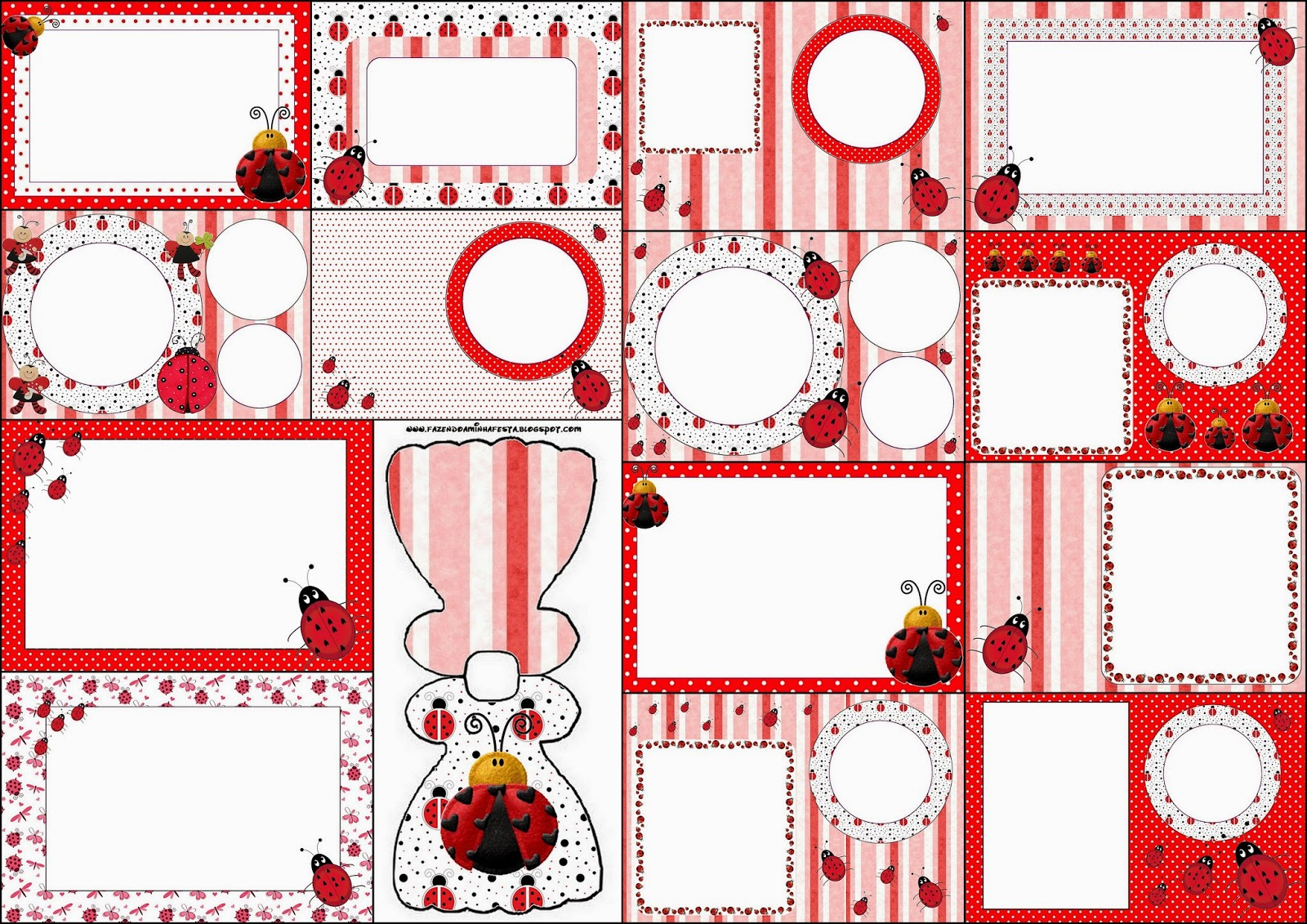 Ladybugs: Free Printable Invitations.