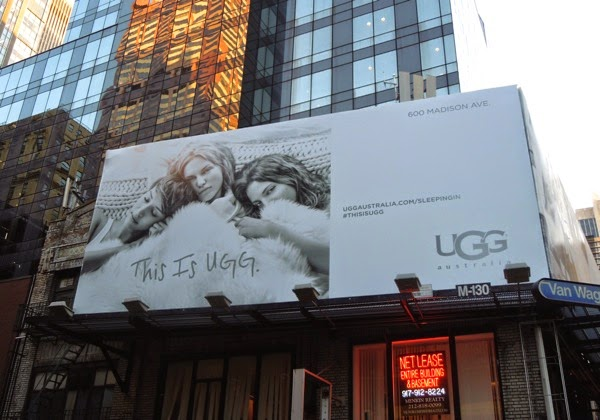 Ugg Australia sleeping in billboard NYC