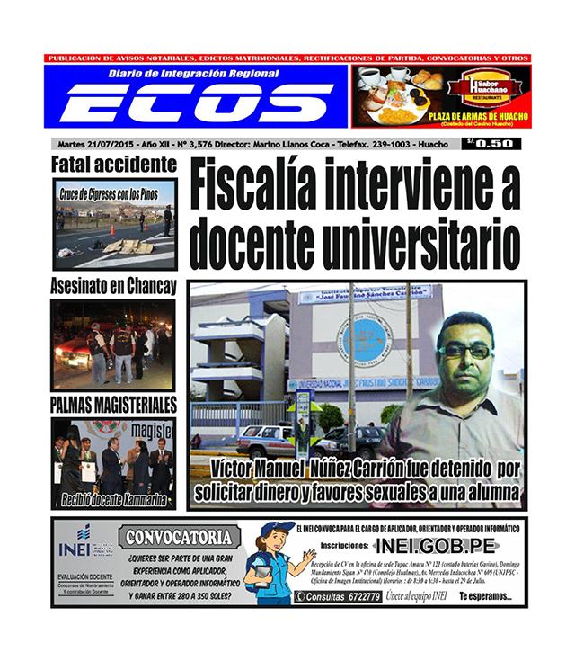 Esta es la edición del Diario ECOS miércoles 21 de julio del 2015