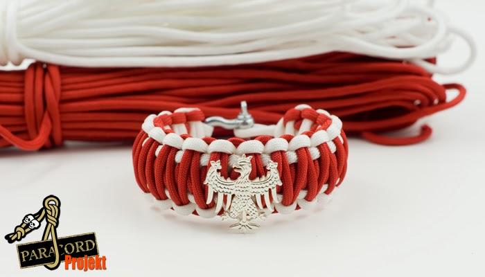 Bransoletka z paracordu PATRIOTYCZNA biało - czerwona